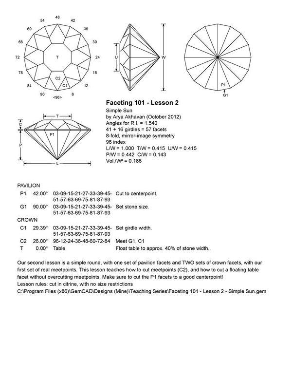 Akhavan - Faceting 101  Lesson 2 - Simple Sun