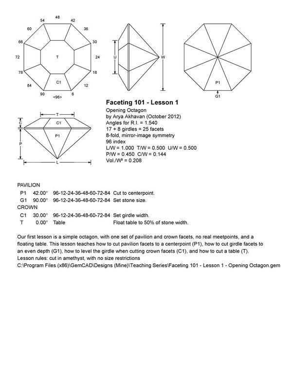 Akhavan - Faceting 101  Lesson 1 - Opening Octagon
